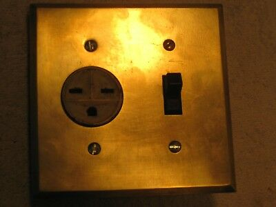 Antique single 220 volt recepticle, ceramic toggle switch and brass cover