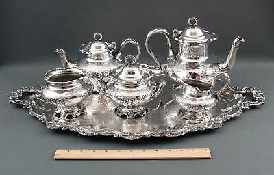 Antique Aesthetic Period Meriden B Company Silverplate Repousse Tea Set