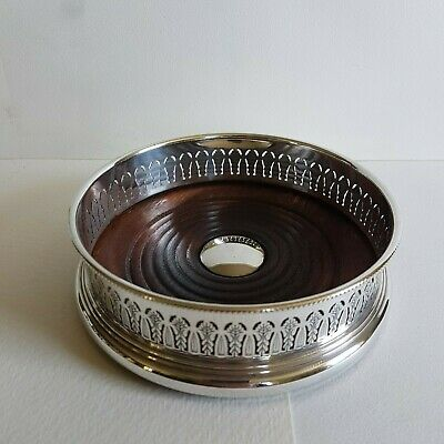 Antique Mappin & Webb Silver Plate Wine Coaster Pierced Gallery Wooden Base