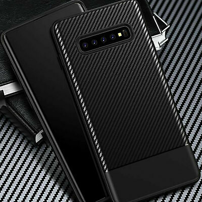 For Samsung Galaxy S10 Plus S10e Luxury Silicone Carbon Fiber Soft Case Cover UK