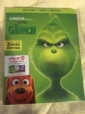 Dr. Seuss, The Grinch, bluray, dvd+digital code, target, with book LIMITED READ