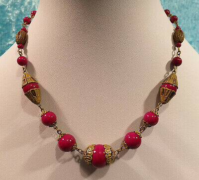 Rare Vintage Art Deco Max Neiger Czech Red Glass Bead & Enamelled Brass Necklace