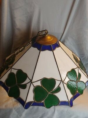 Vintage Stained Glass Light Fixture Shamrock Green
