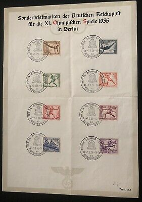 1936 Berlin Germany Olympic Souvenir Sheet Official Cover Comp Set B82-9