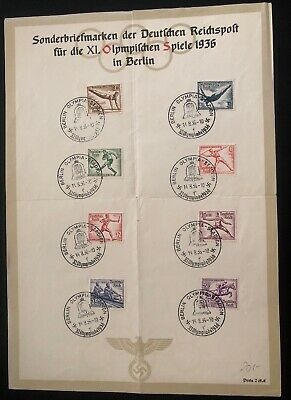 1936 Berlin Germany Olympic Souvenir Sheet Official Cover FDC Comp Set B82-9