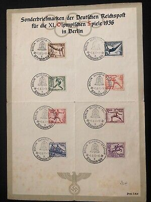 1936 Berlin Germany Olympic Souvenir Sheet Official Cover FDC Comp Set B82-9 B
