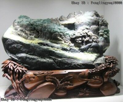 "15"" Chinese Dushan Jade "" Mountains Water "" Thatched Cottage Landscape Statue"
