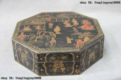 10 Chinese exquisite Wood wucai maidservant Painted rhombus Jewelry case Box