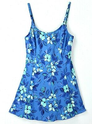 ba9c0cfea3046 LL Bean Swimsuit size 12 Modest 1 Piece Swim Dress Blue Floral Cruise  Excellent