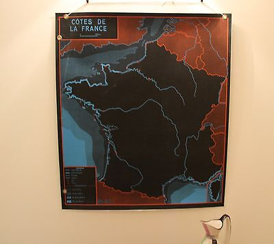 VINTAGE FRENCH SCHOOL MAP Coasts of France 50S 60s 70s retro black red