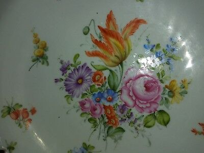 "Antique 14"" German Dresden flowers Porcelain footed  reticulated center Bowl"