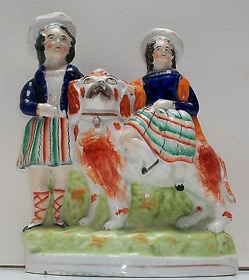 19Th Staffordshire Rare Group Girl Seated On Large Dog Boy Standing At Side