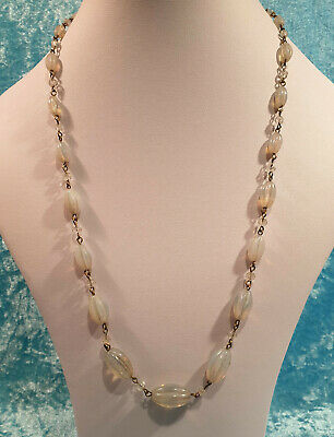 Vintage Original Art Deco Milky Opalescent Czech Pressed Glass Bead Necklace