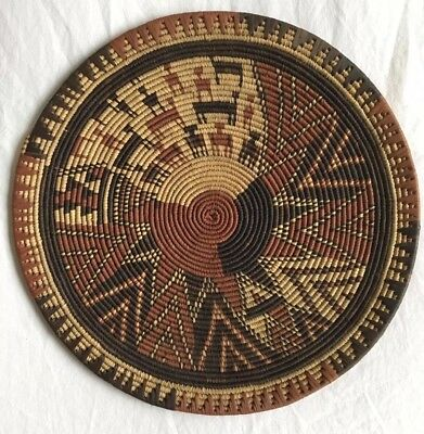 Beautiful RARE Native American/African Coil Woven Wall Tray Basket