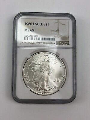 1986 $1 American Silver Eagle Ngc Ms69 Classic Brown Label
