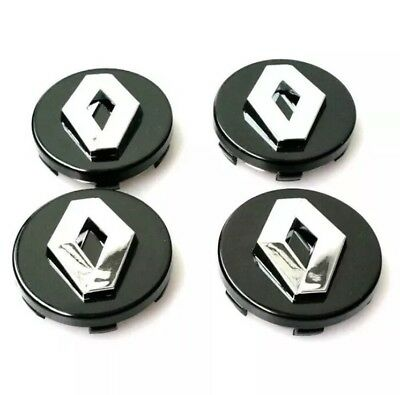 RENAULT ALLOY WHEEL CENTRE CAPS HUB 57mm 4 X BLACK SET MEGANE LAGUNA CLIO TWINGO