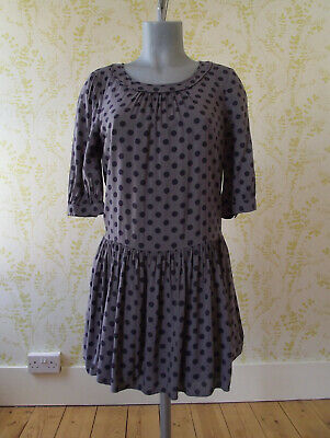 BODEN grey spotted skater mini dress, navy blue spots & gathered skirt, UK 10