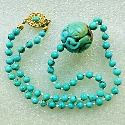 RARE VINTAGE ANTIQUE CHINESE CARVED NATURAL TURQUOISE SHOU Dragon NECKLACE 16""