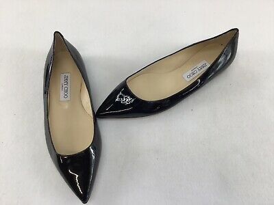 62993e9441 JIMMY CHOO ROMY Black PatentLeather Pointed Toe Flats Sz. Euro R39.5 ...