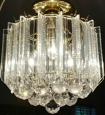 Vintage Mid Century Modern Lucite Tiered Wedding Cake Waterfall Chandelier A