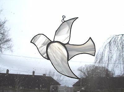 Stained glass dove suncatcher, Christian gift, white, dove of peace, Spiritual