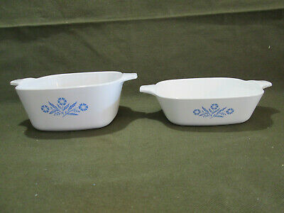 Lot of 2 Corning Ware Blue Cornflower Petite Casserole Dishes, No-lids, Used