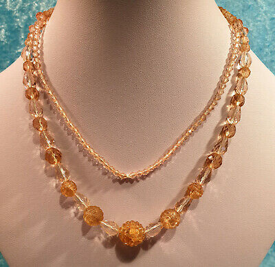 Vintage Original Art Deco Pink Czech Pressed Glass Long Beaded Flapper Necklace