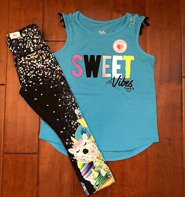 NWT JUSTICE Girls 8 12 Pink Tee /& Unicorn Print Leggings Outfit