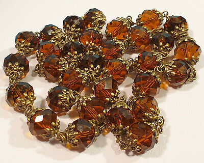 Vintage Art Deco Style Chunky Faceted Amber Czech Cut Glass Bead Necklace