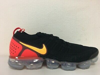 Nike Air Vapormax Flyknit 2 Black Laser Orange Red 942842-005 Men Size 10.5
