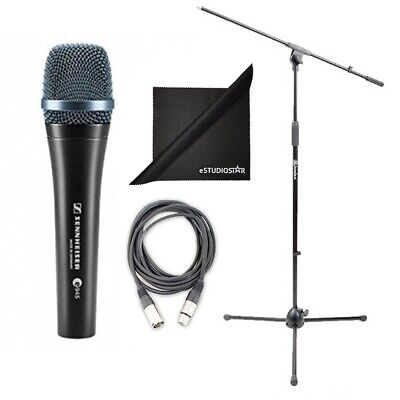 Sennheiser E945 Supercardioid Handheld Mic w/Mic Stand & Cable, Polishing Cloth