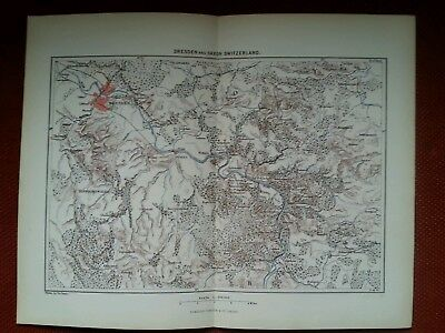 1878 Map of Dresden and Saxon Switzerland Germany River Elbe Antique vintage