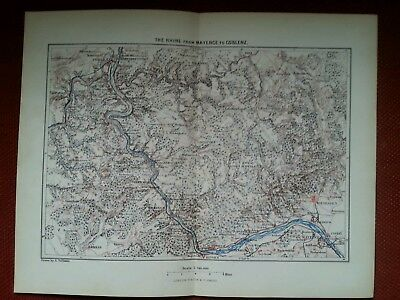 1878 Map of The Rhine from Mayence to Coblenz Germany Antique rare vintage