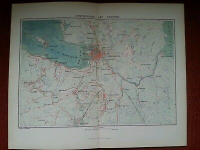 1878 Map of St Petersburg and Environs Russia Antique rare vintage