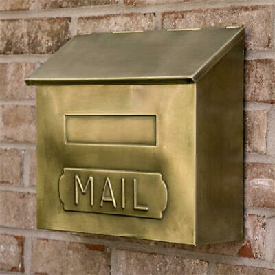 "Signature Hardware Horizontal ""MAIL"" Wall Mount Brass Mailbox in Antique Brass"