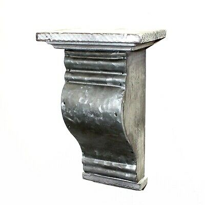 Corbel or Shelf Bracket of Aged Gray Wood with Stamped Tin Smooth Front
