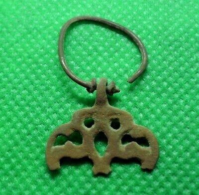 Ancient Celtic Druids Bronze Decorated Earring - 400/300 Bc - Rare