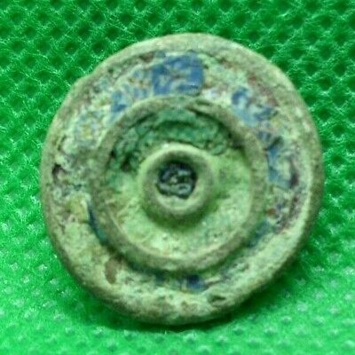 Ancient Roman Bronze Solar Belt Fitting With Glass Paste - 100 Ad - Rare