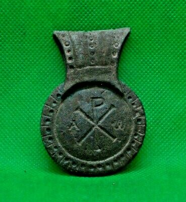 Ancient Roman Bronze Chi-Rho Medal - 350/400 Ad -- Extremely Rare
