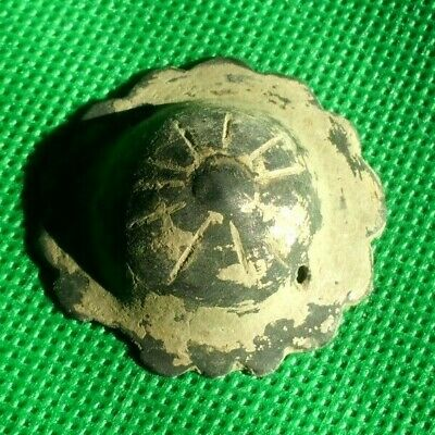 Ancient Celtic Bronze Solar Disc Amulet Mount Decoration - 200 Bc