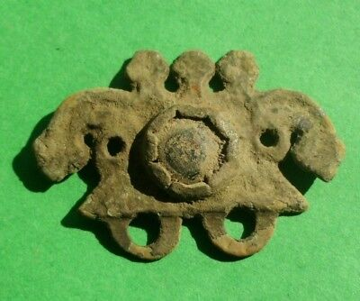 Ancient Celtic Bronze Decoration With Snake Heads And Glass Paste - 200/100 Bc