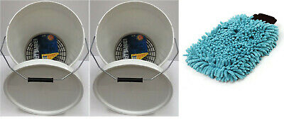 2 x Car Clean Wash Washing Detailing Buckets 20.5 Ltr Grit Guards + Noodle Mitt