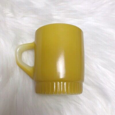 VTG ANCHOR HOCKING FIRE KING Mustard Yellow Gold STACKABLE COFFEE MUG CUP