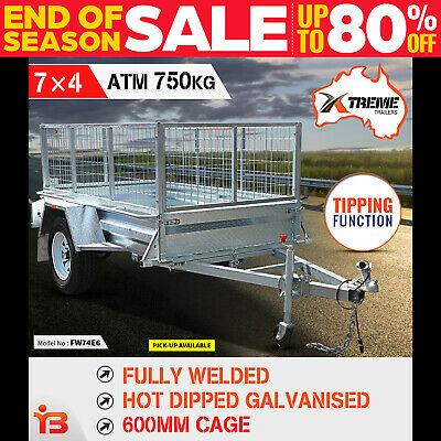 New 7x4 Full Welded Galvanised Box Trailer With 600mm Cage