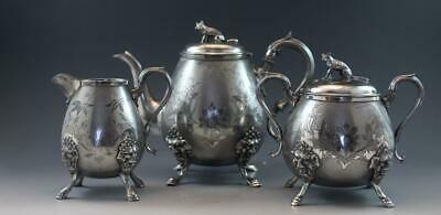 Antique Wilcox Aesthetic Art Nouveau Silver Plate 3 Piece Tea Set Fox Finials