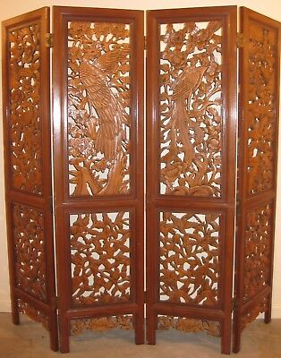 Solid Wood Hand Carved Four Panel Room Divider