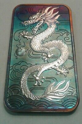 2018 Australia Dragon 1oz silver bar coin With Beautiful Toning.  * Toned
