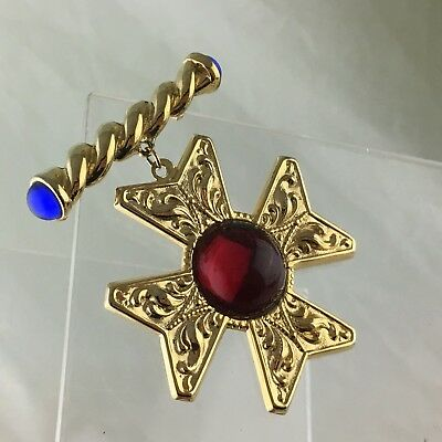 Fashion Brooch/pin Order Celtic Cross Gold Plated Red/blue Acrylic Cabochon