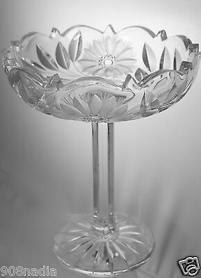 Vintage Cut Glass Or Crystal Footed Bowl/Dish/Compote Etched Flowers