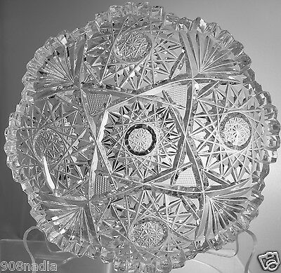 Vintage Cut Glass Or Crystal Shallow Bowl Pineapple Starburst Scalloped Edges